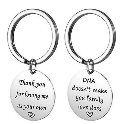 Thank You for Loving Me As Your Own Letter Keychain Keyring Couple Gift LE
