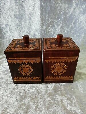 Vintage Wooden Inlaid Tea Caddy Pair Boxes Stained Wood Handmade Kitchen Treen
