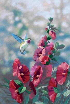 Dimensions Crewel Embroidery Hollyhocks in Bloom, Polyester blend, Multi-Colour