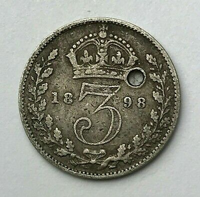 Dated : 1898 - Silver Coin - Threepence - 3d - Queen Victoria - Great Britain