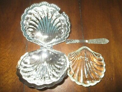 VINTAGE LEONARD SILVER PLATED Scallop Shell Caviar Dish Glass Liner and Spreader