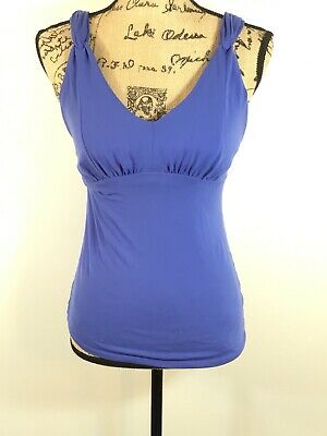 1a25022a25 Athleta Bella Yoga Flattering & Fitness Blue V-Neck Tank Top Womens Size  Small
