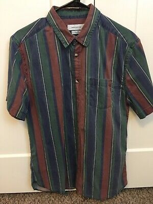 2024c5fe Short Sleeve Button Up Retro Vertical Stripe Vintage Urban Outfitters Shirt  Mens