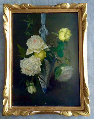 Antique French Oil Painting 19thC Roses in a cornet of Faïence signed c1896