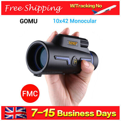 GOMU Handheld 10X 42mm Monocular Twist-UP Eyecups BAK-4 for Bird Watching Hiking