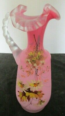 Antique Mt Washington H Blown Hp Floral Ruffled Pink Satin Cassed Glass Pitcher
