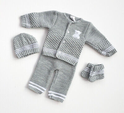 Baby Newborn 0-3M Spanish Teddy Knitted 4 Piece Gift Set Outfit Blue White Grey