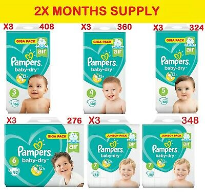 Pampers Nappies New Baby Dry Size 2,3,4,4+,5,5+,6,7 Monthly Pack SAVING MEGA-BOX