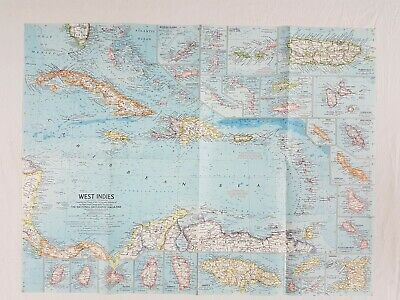 Vintage National Geographic 1962 West Indies 25 X19 Inch Map.