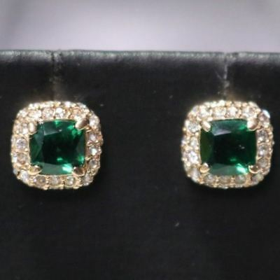 Classic Carved 2 Ct Green Emerald Diamond Halo Stud Earrings Gold Plated