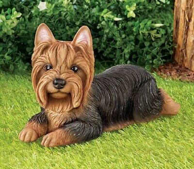 Yorkshire Terrier Dog Lying Down Statue