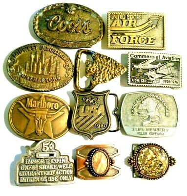 Vintage lot Arrowhead Solid Brass, coors, usa, air force, stone Belt buckles