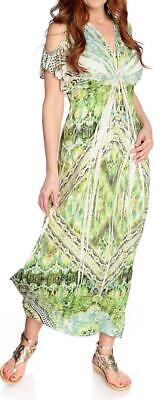 NEW One World Micro Jersey Short Sleeved Cold Shoulder Printed Maxi Dress - XS