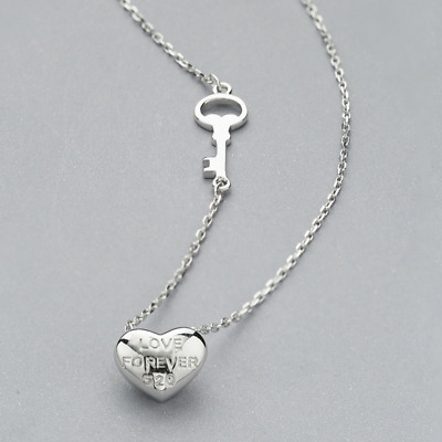 Real 925 Sterling Silver String Love Pendant Necklace Chain SOLID SILVER Jewelry