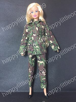 Barbie Doll Army Military Outfit Clothes Uniform Costume Dress & Shoes Brand New