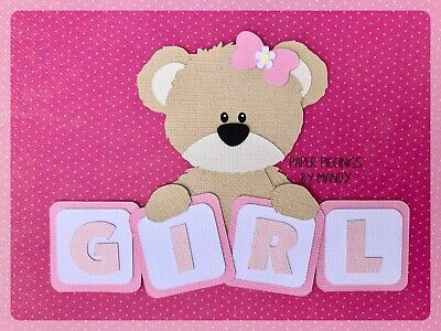 BABY GIRL BEAR BLOCKS paper piecing / title for scrapbooking or card making