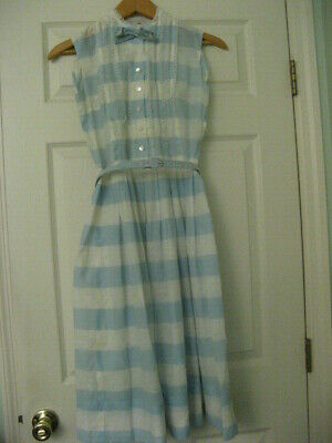 76bb7b28783e Vintage 1950'S Betty Barclay Sleeveless Summer Dress Pale Blue White, Great  Cond