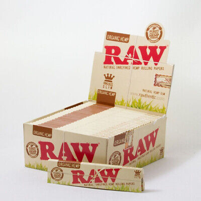 Full Box Raw Organic hemp King Size Slim Natural Unrefined Cigarette Paper