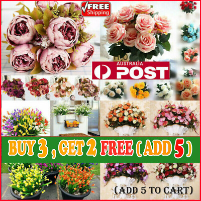 21 Heads Artificial Silk Flowers Bouquet Roses Leaf Bunch Wedding Home Party G