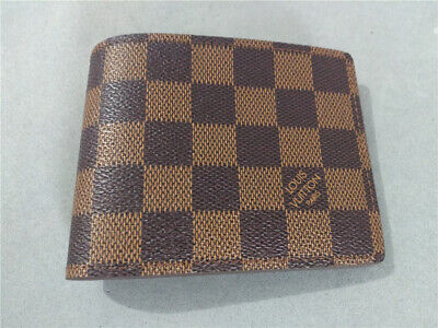 77763b54 MEN'S WALLET DAMIER Multiple Bifold Coin Brown Checkered Leather ...