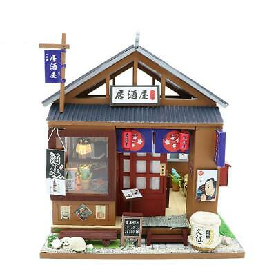 Dollhouse Miniature Furniture DIY Kit Wood Toy Doll House Cottage W/LED lights