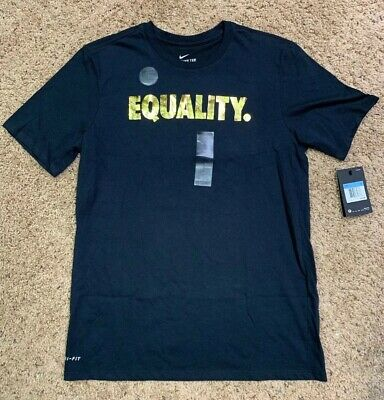 c793f822f NIKE EQUALITY Black Gold Metallic Dri-Fit T-Shirt SIZE Medium AO8200 010
