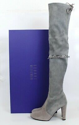 55069fd80 NEW Stuart Weitzman Highland Over the Knee Boot, Grey Two Tone Suede, 7M~
