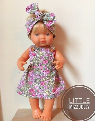Miniland Doll Clothes 38cm Doll Pinny Dress With Matching headband & Nappy