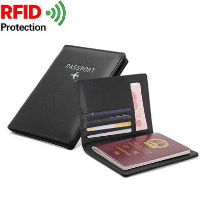 RFID Blocking Wallet PU Passport Holder Bifold Wallet Cover Case  Men Travel
