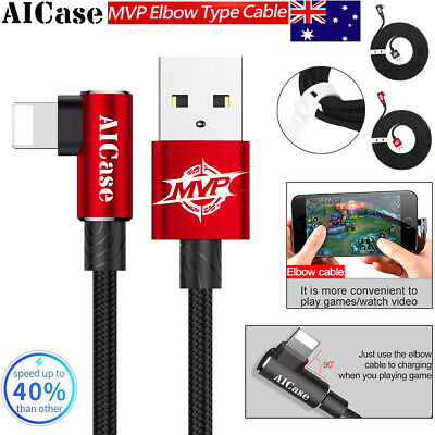 AICase Braided Elbow Fast Charging USB Lightning Data Sync Cable Fr Apple iPhone