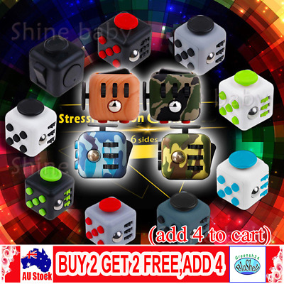 Fidget Cube Spinner Toy Gifts Kid Desk Adults Stress Relief Cubes ADHD AU GR