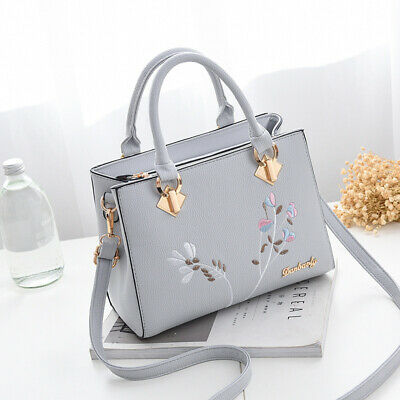 Women Handbags Tassel Decorated PU Leather Bag Top-handle Embroidery