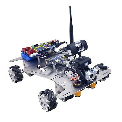 4WD WiFi Smart Robot Car Kit Camera 60mm Mecanum Wheels Unfinished Bluetooth tps