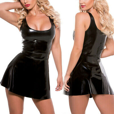 Sexy Damen Wetlook Skater Kleid Bodycon Kleider Cocktail Partykleid Minikleid DE