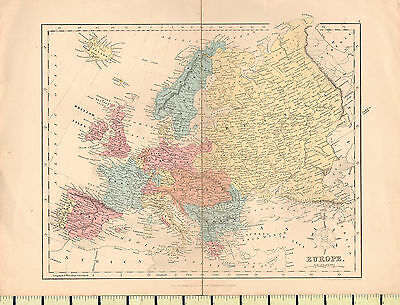 c1880 MAP ~ EUROPE ~ BRITISH ISLES SWEDEN NORWAY FRANCE ITALY AUSTRIA TURKEY