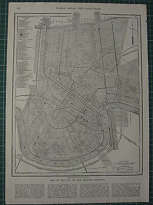 1926 Map ~ New Orleans City Plan Louisiana Missippi River Railway Churches