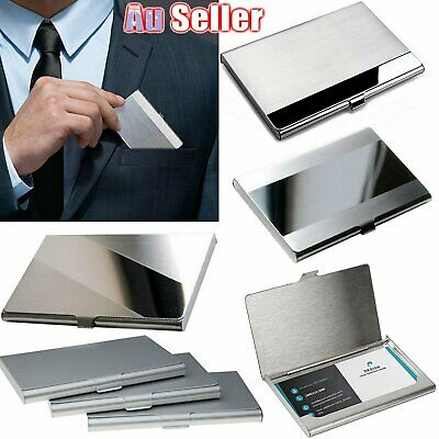 Stainless Steel Business Wallet Card Holder ID Name Credit Case Cover Metal Silv