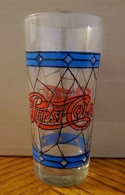 Vintage 1970's Pepsi Cola Soda Drinking Glass Tiffany Stained Glass Design