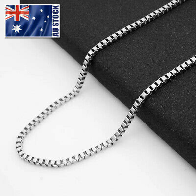Wholesale Stainless Steel Square Box Chain Necklace For Pendants Mens & Womens
