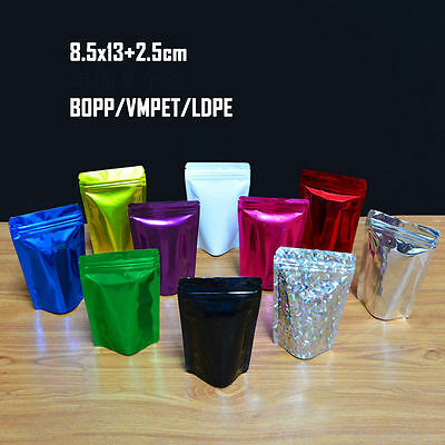 Silver Metallized Stand-Up Food Saver Pouches 500pcs Stand-Up Pouch Stock Bag