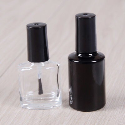 10/15ml Empty nail polish bottle clear glass with brush refillable manicure