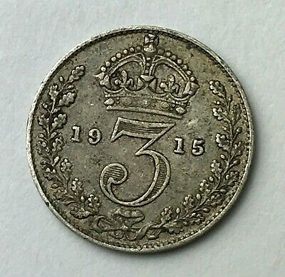 Dated : 1915 - Silver Coin - Threepence - 3d - King George V - Great Britain