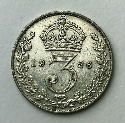 Dated : 1926 - Silver Coin - Threepence - 3d - King George V - Great Britain