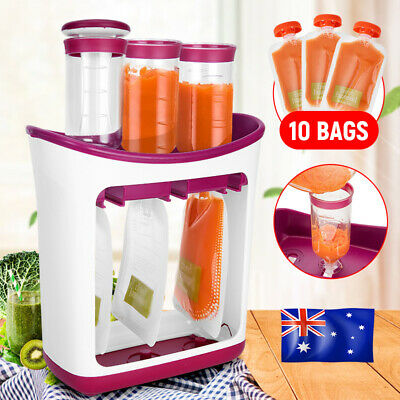Infant Baby Food Feeding Squeeze Station Fruit Drink Maker Dispenser Storage Bag