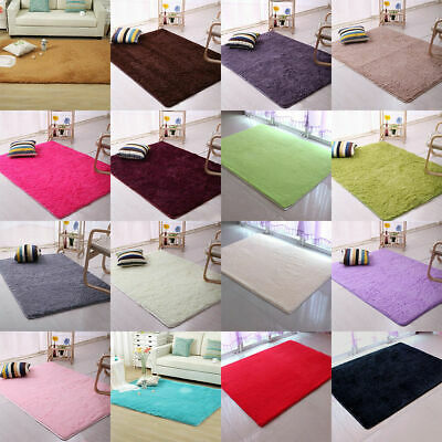 Large Shaggy Floor Rug Plain Soft Area Mat 35mm Thick Pile Carpet Runner NonShed