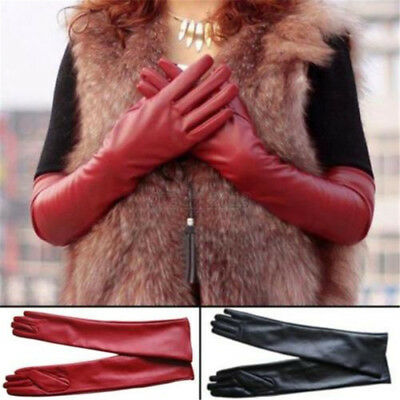 Women Opera Evening Party Glove Faux Leather PU Long Gloves Wedding Winter Warm