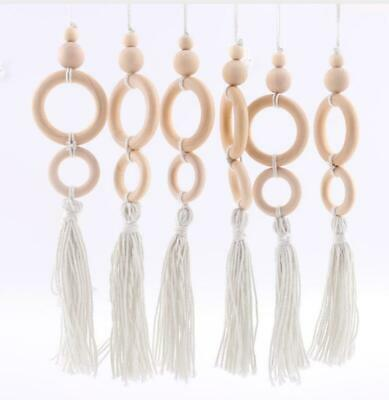 Natural Wood Beads Ring Tassels Unfinished Play Gym Toys Baby Pram Teething Toy