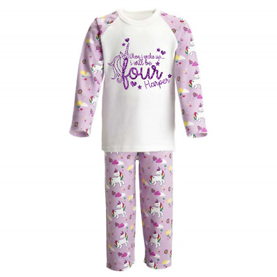 Personalised When I Wake Up 4 Unicorn Kids Pyjamas Children's Pjs Birthday Girls
