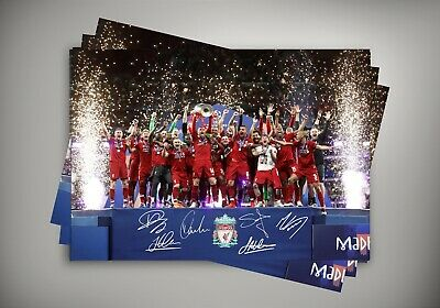 Salah Firmino Mane Henderson - Liverpool Fc Champions - Autographed Poster Print