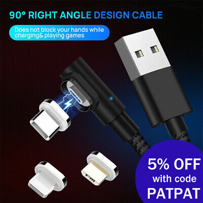90 Degree 5A Lightning USB Magnetic Data Charging Cable Fast Charger For iPhone